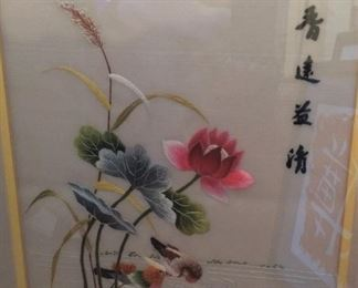 Framed silk from China