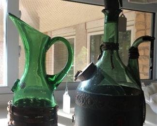 Green wine bottles