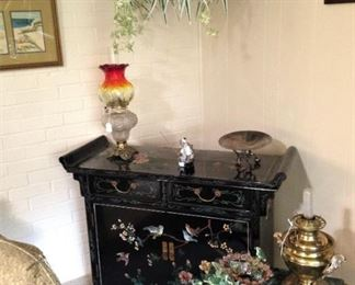 Asian chest; small green marble top table