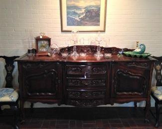 Beautiful buffet provides storage and display
