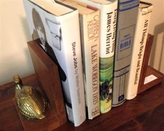 More books; brass duck bookends