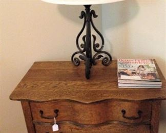 The antique dresser can also be used without the mirror.