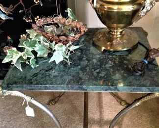 Small green marble top table with brass legs