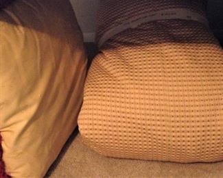 One of two large pillows (red & gold) with a king duvet (red & gold)