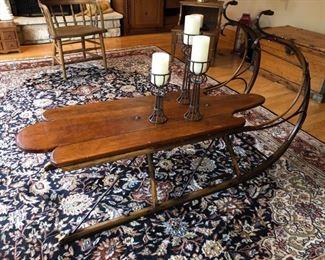 """Stunning custom made sleigh coffee table - 54""""wide x 20""""deep x 17"""" high (3' to top of rail) - $1400"""