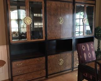 """Century Furniture Asian style 3 piece lighted china cabinet  (dimensions shown for each section!) - 35"""" wide x 18"""" deep x 84"""" high - $750"""