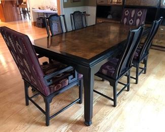 """Century Furniture Asian style dining room table with 4 side chairs and 2 captains chairs (table shown with one leaf - there is another leaf not shown) - 62"""" long (with 2 - 18"""" wide leafs) x 40"""" wide"""