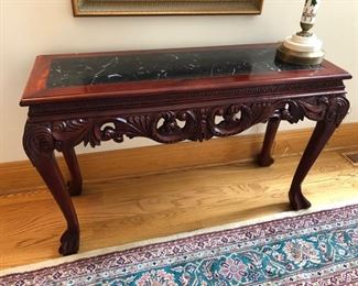 """Sofa/foyer table with marble insert - 46"""" wide x 17"""" deep x 29"""" high - $250"""
