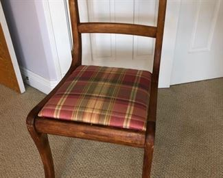Wood desk chair with plaid upholstered seat - $40