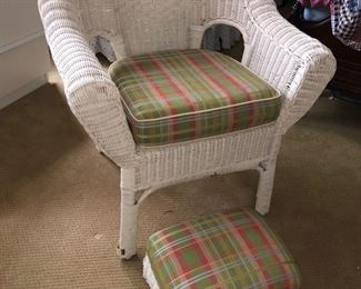White wicker chair with footstool