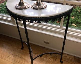 Half round marble/metal side table