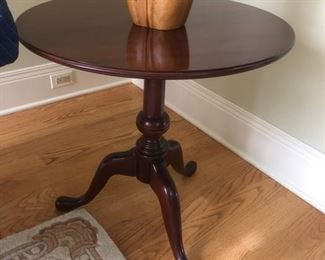 Small round wood side table