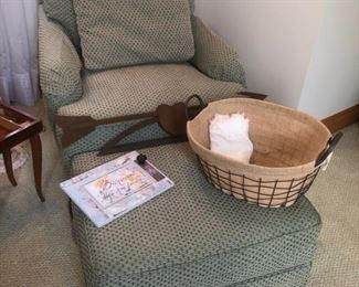 Upholstered chair with matching ottoman