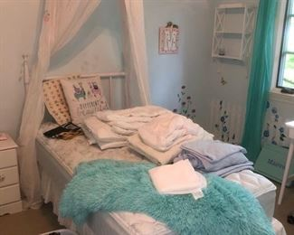 Twin mattress, linens and canopy
