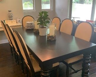 Pottery barn dining room table and chairs