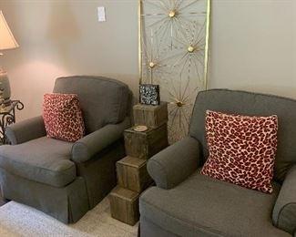 Gray fabric chairs