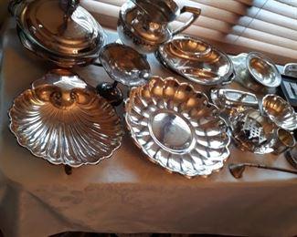 Silverplate service pieces