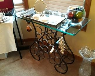 Wine service stand with glass top