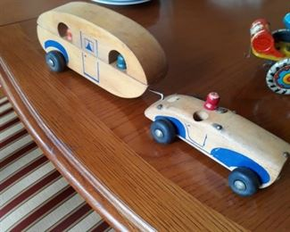 Vintsge wooden toy car with RV trailer