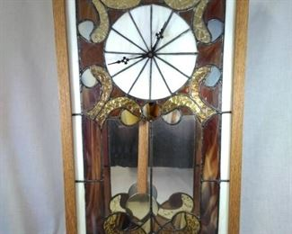 Hand Made Stained Glass Wall Clock