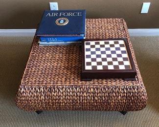 Chess Board $20 Woven Rattan Wicker Ottoman - coffee Table $100,