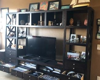 Very Large Entertainment center $500 TV $150 (many of the small things on these shelves will be for sale)