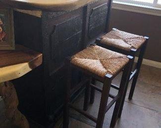 Bar Slab wood Bar By David Alan Collection on Cedros $500-Bar stools $50 each