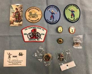 firefighters collection pins, badges