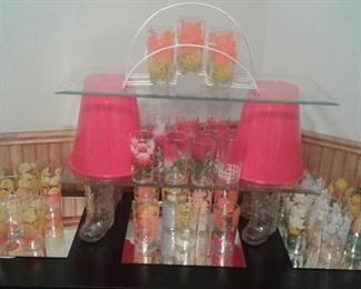 Fun 50-70s decorated tumblers/swankys The great piece at the top-6 glasses and the carrier
