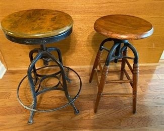 Industrial metal/wood bar stools (2)