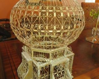 Antique Wood & Wire Bird Cage Balloon Dome