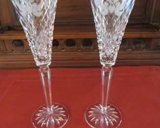50% off now  $17.50 was $35 WATERFORD MILLENNIUM SERIES PEACE Cut Crystal Fluted Champagne Glasses (pair)