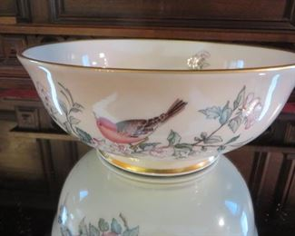 "Lenox Serenade 9"" Footed Bowl with gold trim; bird motif"