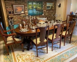 Double pedestal dining table and 8 chairs