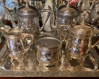 Silver plate coffee and tea service