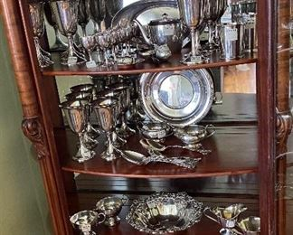 Lots of sterling silver, goblets, bread and butter plates, baby cups, silver bowl and tray, cream and sugar sets