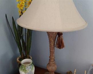 Lamp, Vase, Silk Flower Arrangement