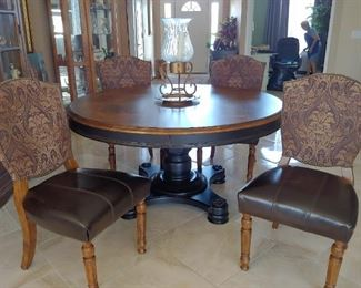 """Table & 4 Chairs.  Leaf also.  Leather Seats & Upholstered Backs Table 58"""""""
