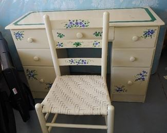 Sweet Hand Painted Desk & Chair