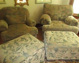 his and hers chairs and ottomons