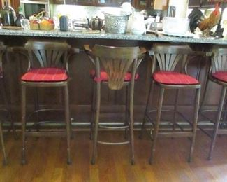 """5 bar stools        41"""" high floor to top of back, 30"""" floor to seat"""