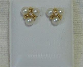 14 k Pearl and Diamond Earrings