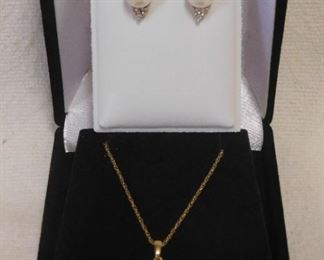 14 k Pearl and Diamond Necklace & Earrings