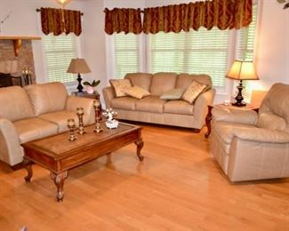 faux leather living room sofa, loveseat & recliner.