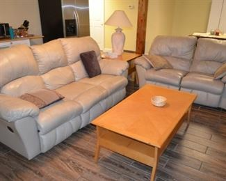 leather reclining sofa & loveseat