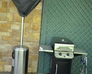 Outdoor propane heater, Char-Broil gas grill...like new!