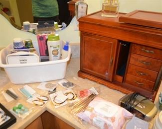 costume jewelry, bath accessories, jewelry cabinet (door needs to be reattached - easy repair)