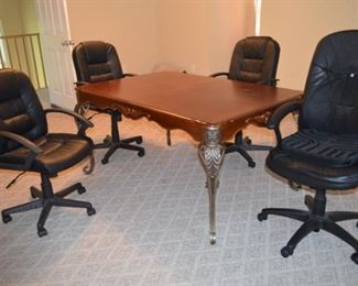 beautiful table (use in your office or dining room); office desk chairs