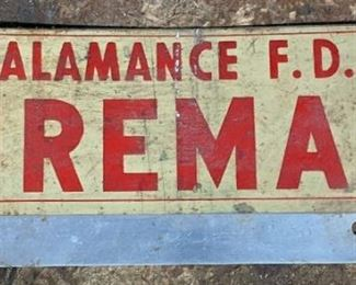 Alamance F.D. license placard