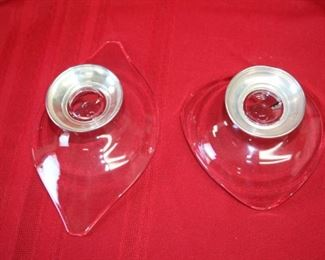 $35. Pair of glass candy dishes with Sterling bases.